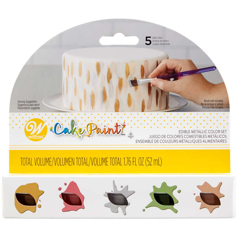 Cake Paint Set, 5-Piece Metallic Set (Gold, Silver, Copper, Red & Green) image number 2