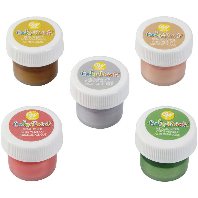 Cake Paint Set, 5-Piece Metallic Set (Gold, Silver, Copper, Red & Green) image number 0