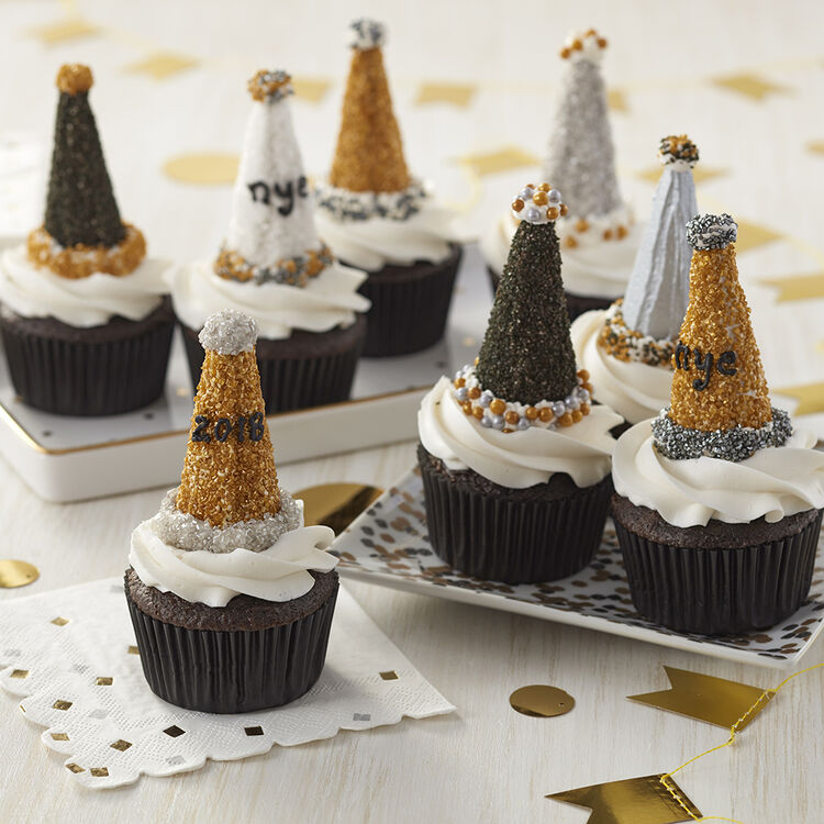 New Year's Eve Party Hat Cupcakes