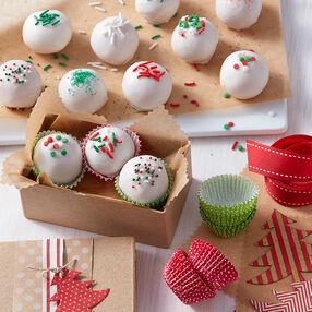 Christmas Cake Balls with Holiday Sprinkles