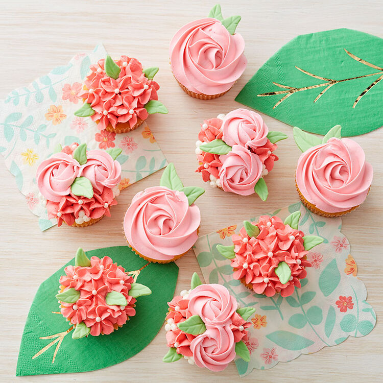 Pink and Coral Spring Cupcakes