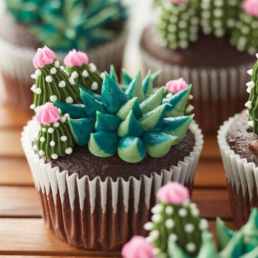 Ideas For Decorating Cupcakes: Blooming Succulent Cupcakes
