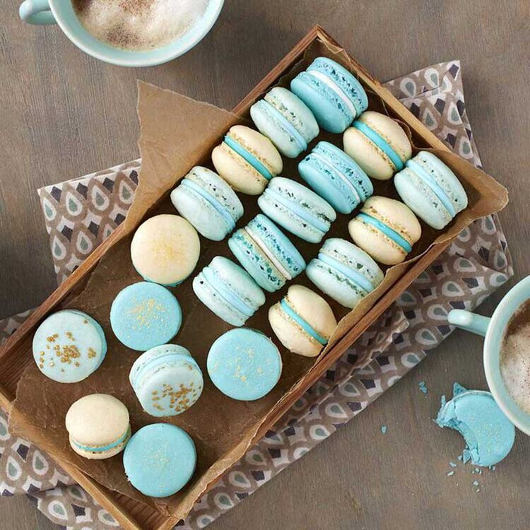 Packaged Blue and Cream French Macarons
