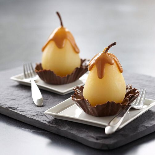 Pears in Chocolate Candy Shells