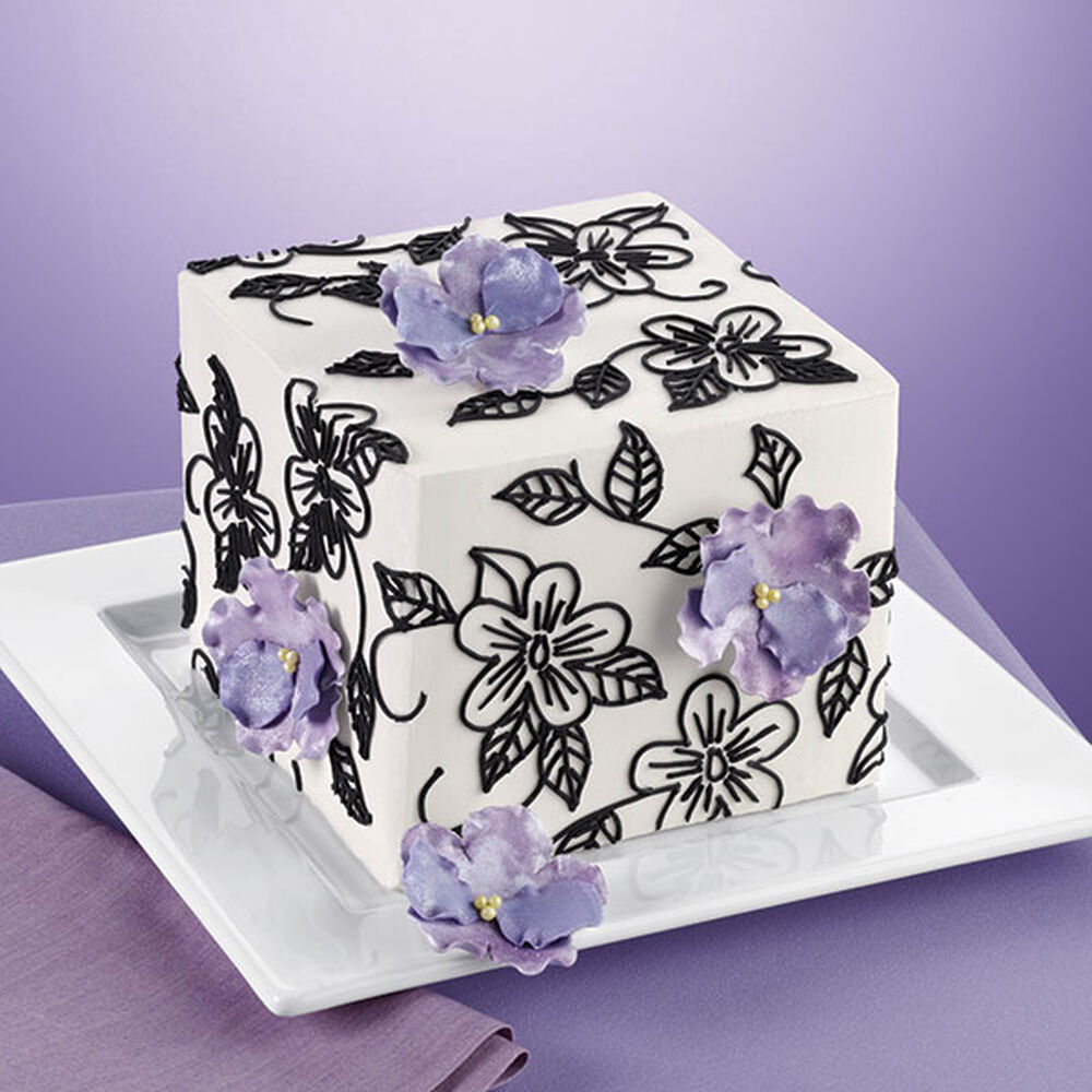 square wedding cake with fondant flowers flowers and vines square cake wilton 20437