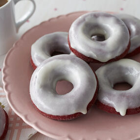 Red Velvet Donuts with Cream Cheese Glaze Recipe
