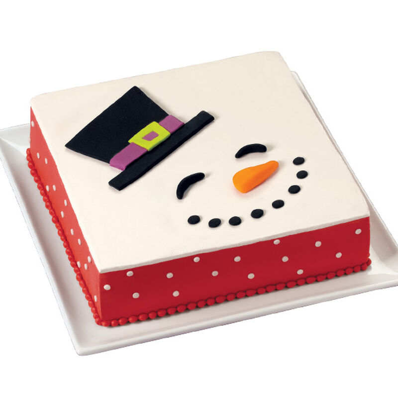 Snowman Silhouette Easy Christmas Cake image number 0