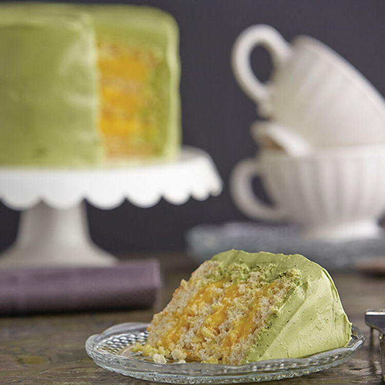 Ginger Cake with Tangerine Curd and Green Tea Icing