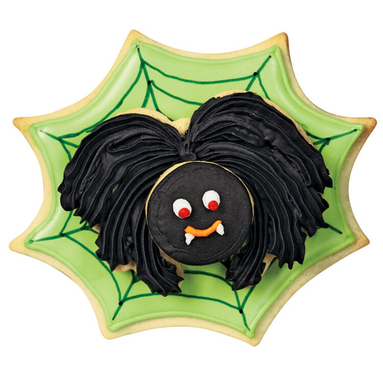 Green Web and Black Spider Cookies