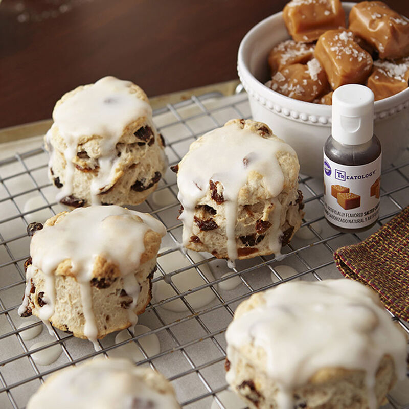 Cinnamon Raisin Biscuits with Caramel Glaze Recipe image number 0