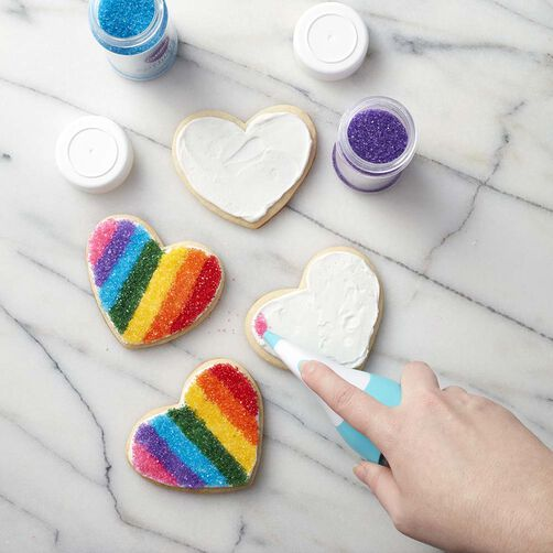 Rainbow heart sparkling sugar cookies
