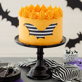 Striped Bat Halloween Cake