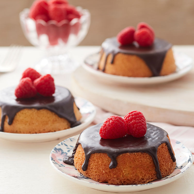 mini cake topped with chocolate glaze and raspberries image number 0