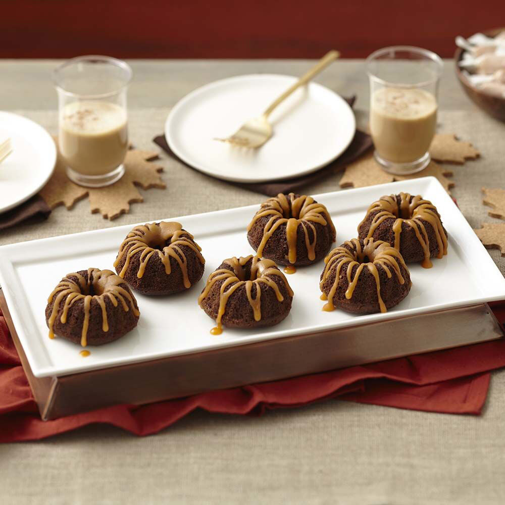 Mini Chocolate Fluted Tube Cakes With Salted Caramel Glaze