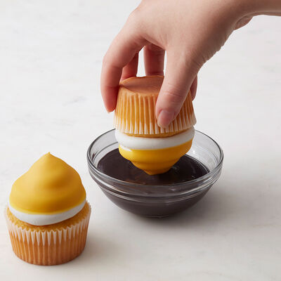 Dipping Cupcake in Candy Melts