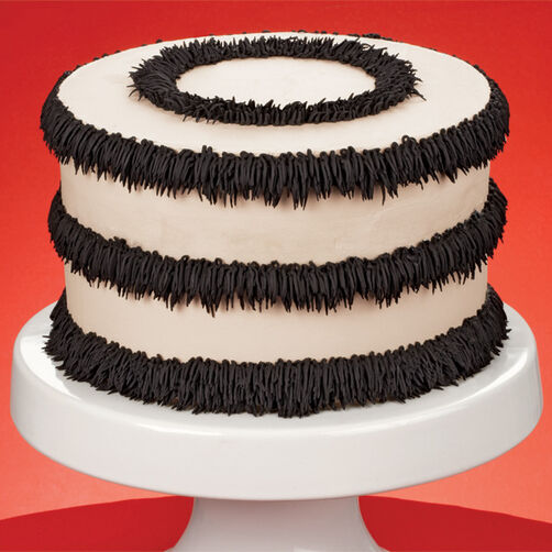 Ivory with Black Fringe Cake