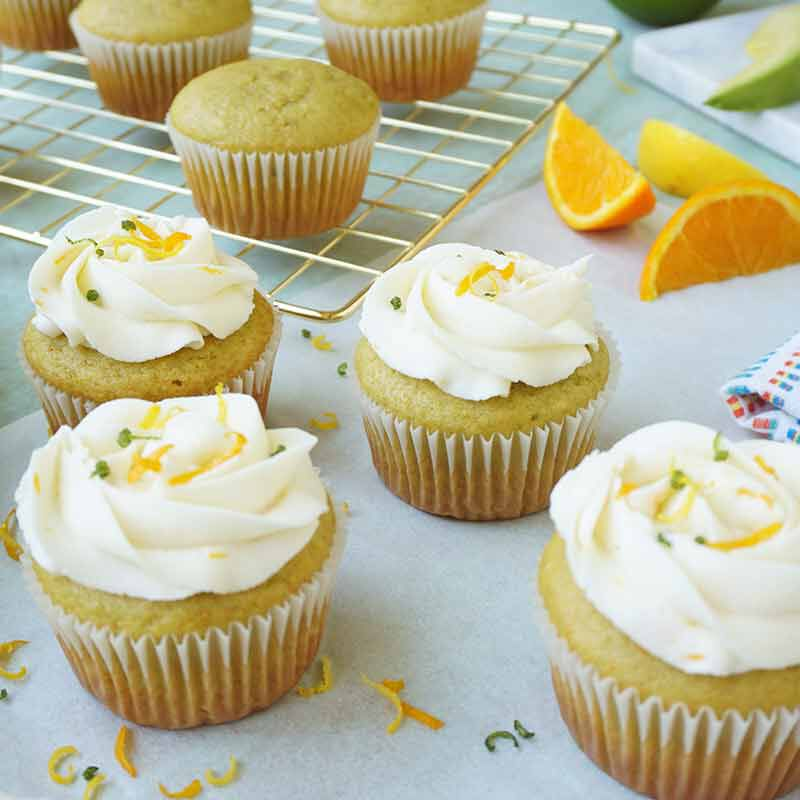 citrus avocado cupcakes with vanilla buttercream frosting image number 1