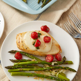 Caprese Chicken with Parmesan Garlic Asparagus Recipe