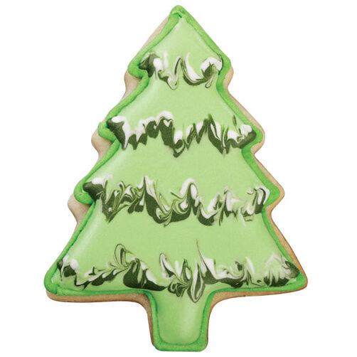 tinsel trimmed christmas tree cookie - Christmas Tree Tinsel