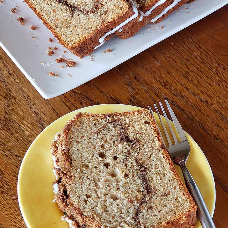 Slice of Cinnamon Streusel Bread served on a plate image number 4