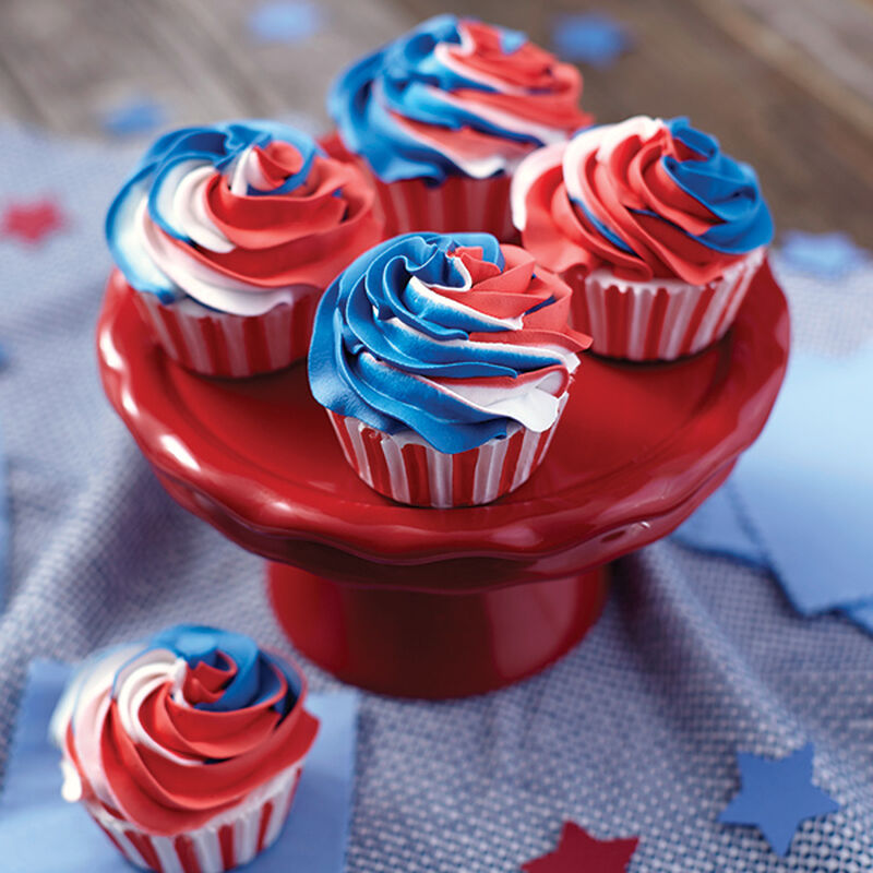 Red, White and Blue Swirled Cupcakes image number 0