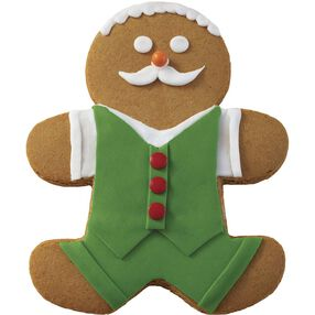 Holiday Dressed Up Gingerbread Boy with Moustache