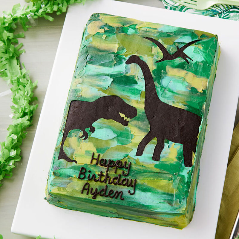 How to Make a Dinosaur Sheet Cake