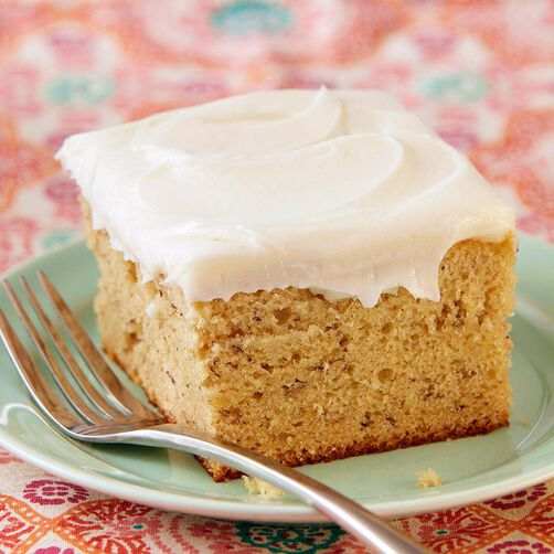 Banana Cake with Cream Cheese Frosting, slice with fork