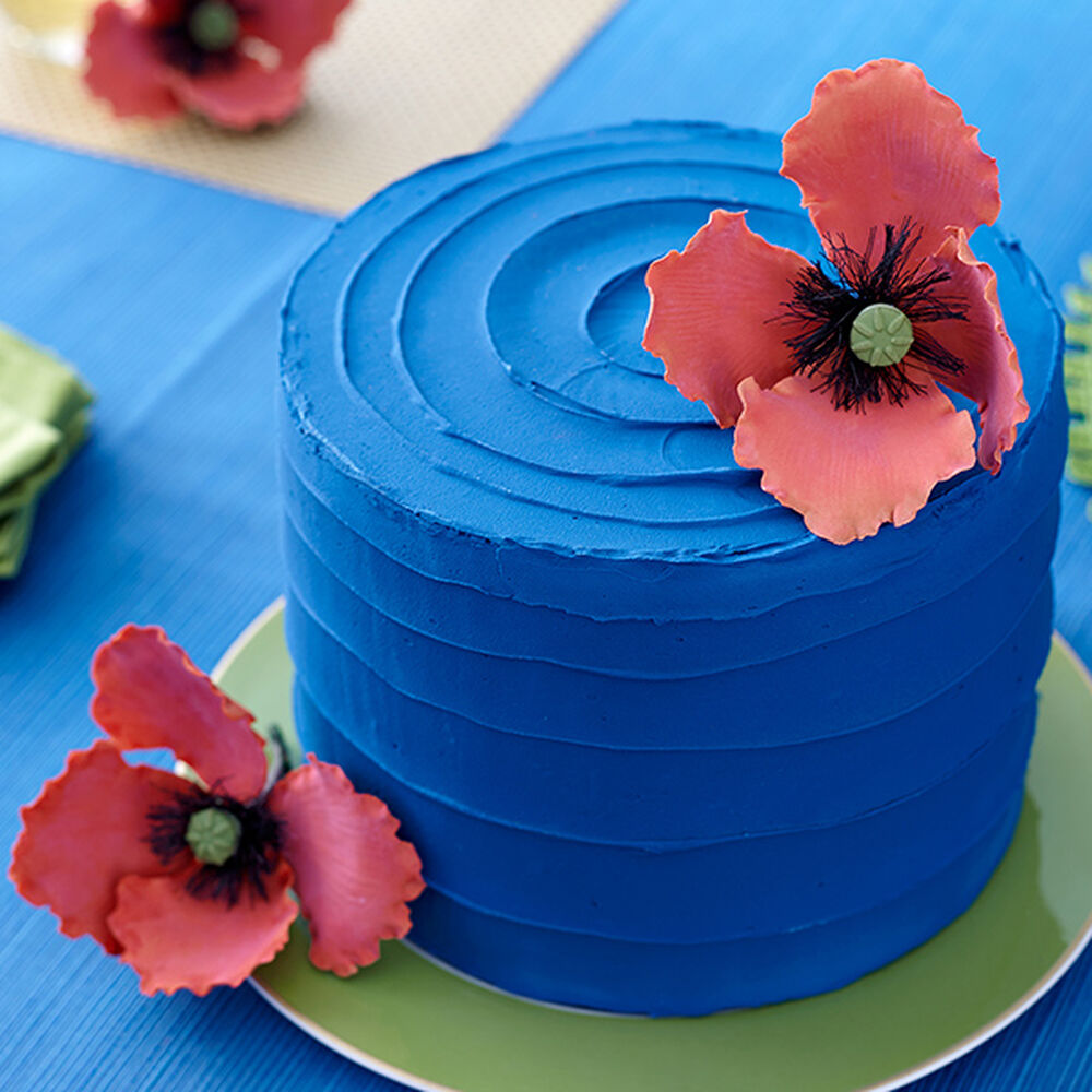 Blue And Red Poppy Cake Wilton