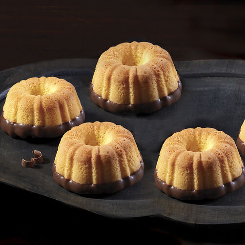 Chocolate Dipped Yellow Mini Fluted Cakes