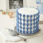 White round cake with vertical blue icing shell border