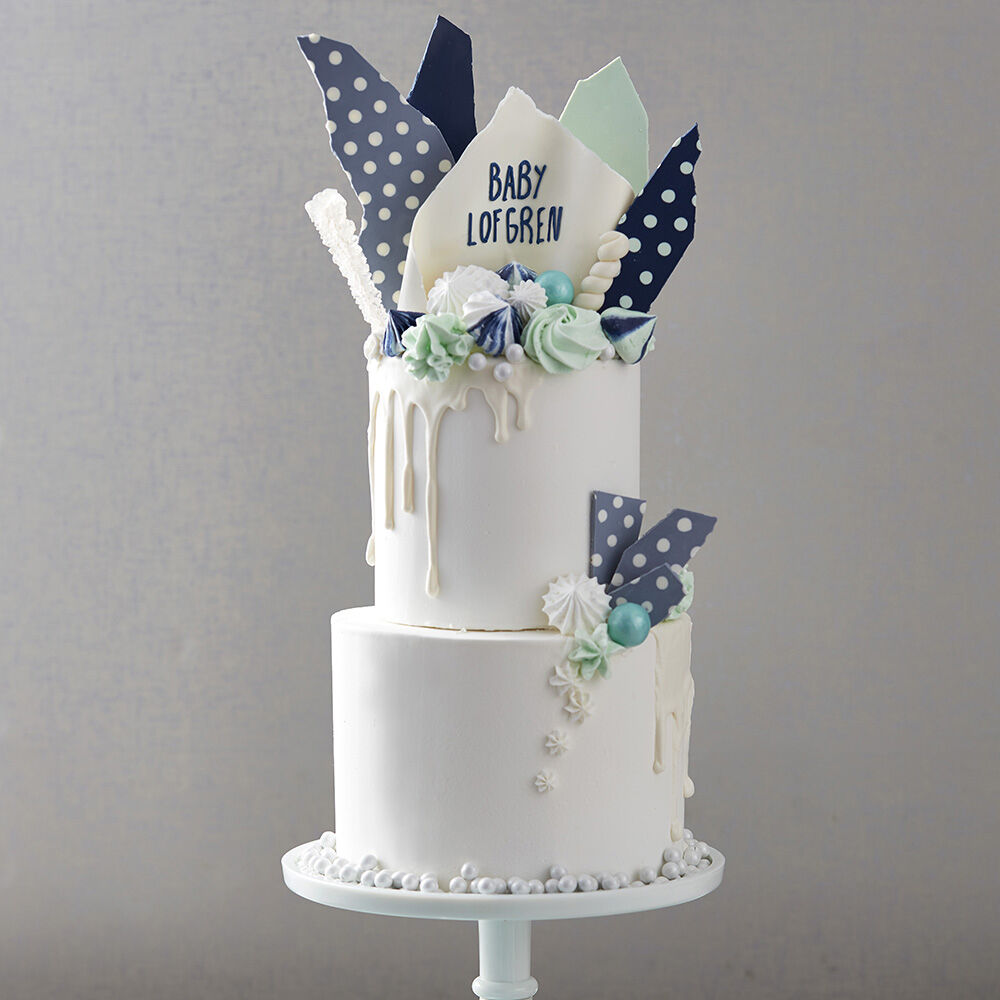 Attractive Hues Of Blues Baby Shower Cake