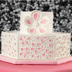 Peek-A-Boo Floral Panels Wedding Cake