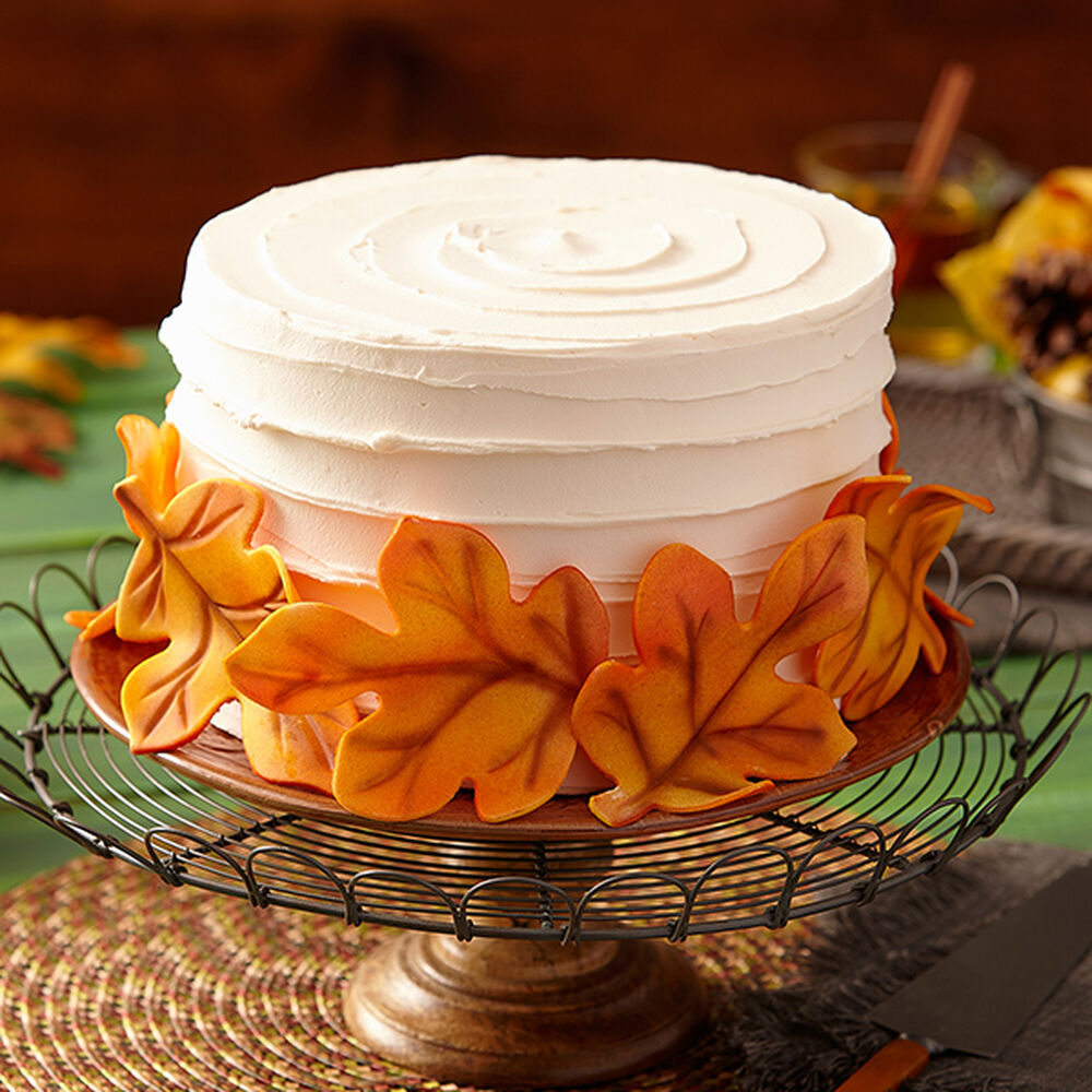 Fondant Leaves Cake - Fall Cakes