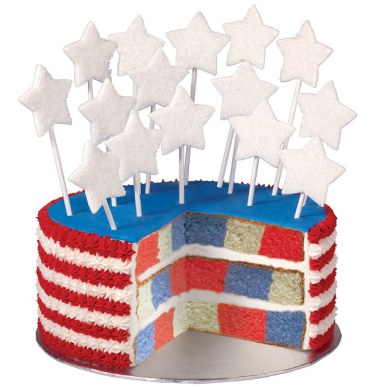 Red, White and True Blue Checkerboard Cake image number 0