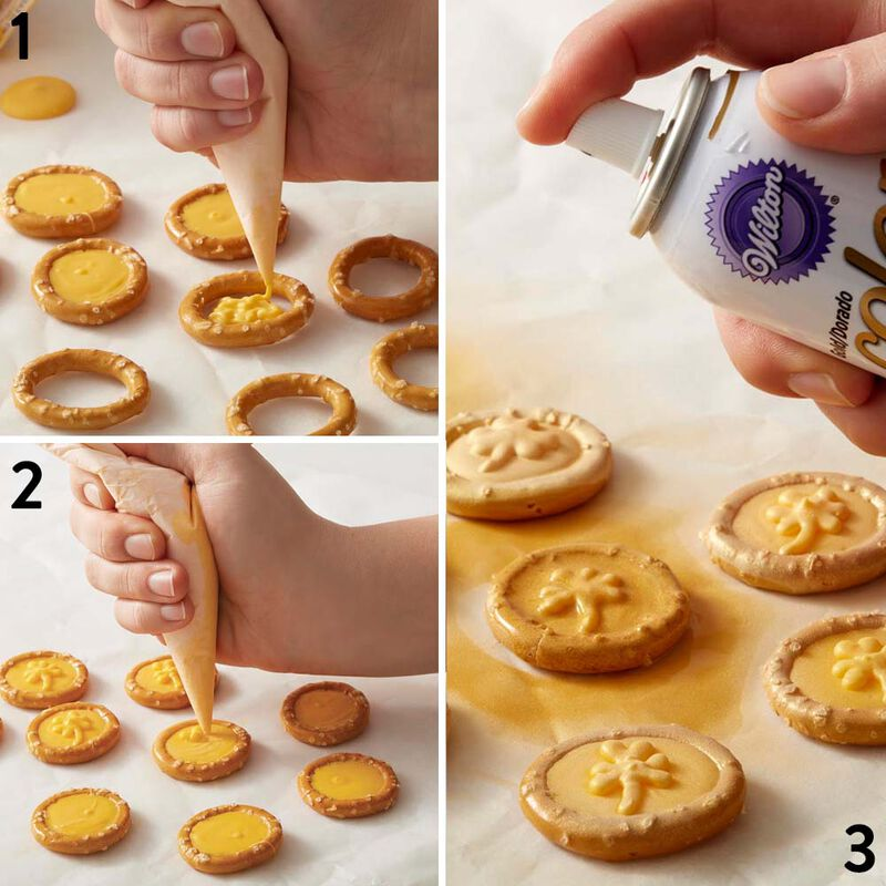 How to Make St Patricks Day Gold Pretzel and Candy Coins image number 3