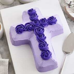 b3a053da382 Purple Rosette Cross Cake