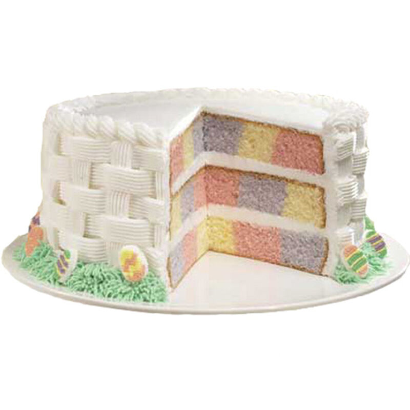 Checkerboard Pastel Easter Basket Cake image number 0