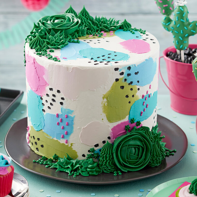 Pretty Pastels and Succulents Cake image number 0