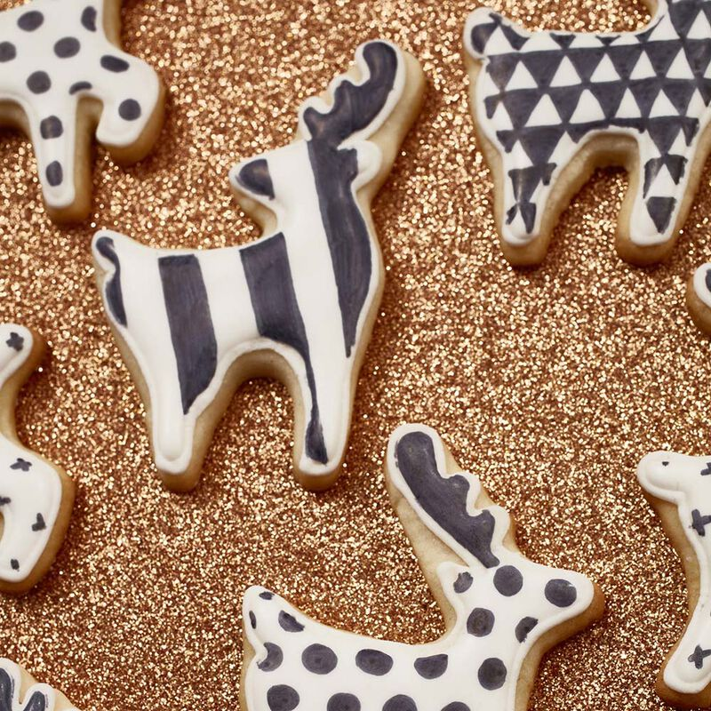 Christmas Reindeer Cut Out Sugar Cookies in Black & White image number 1