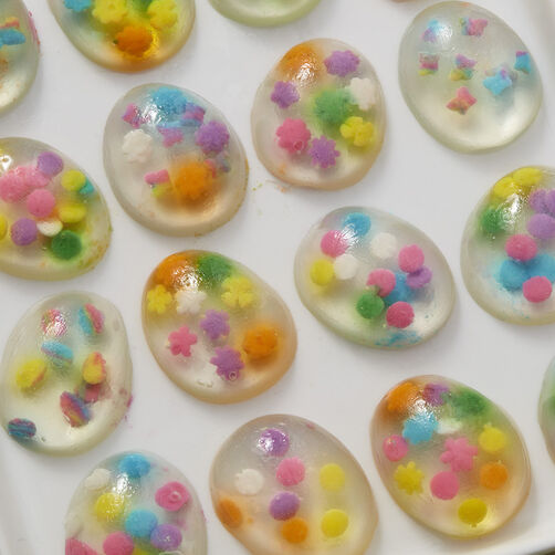 Clear Jell-O eggs with sprinkles