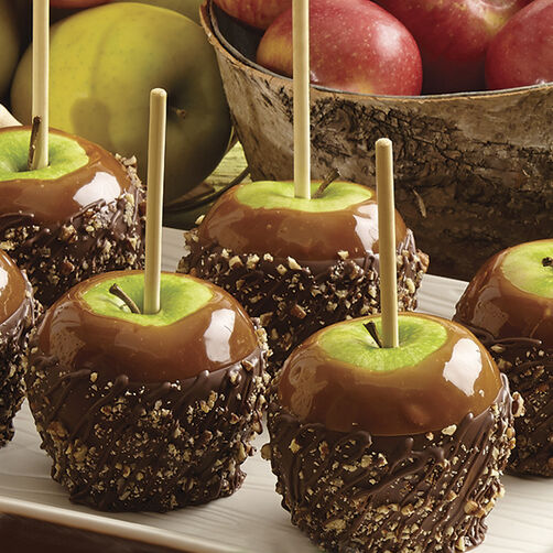 Pecan Caramel Apples Dipped in Candy