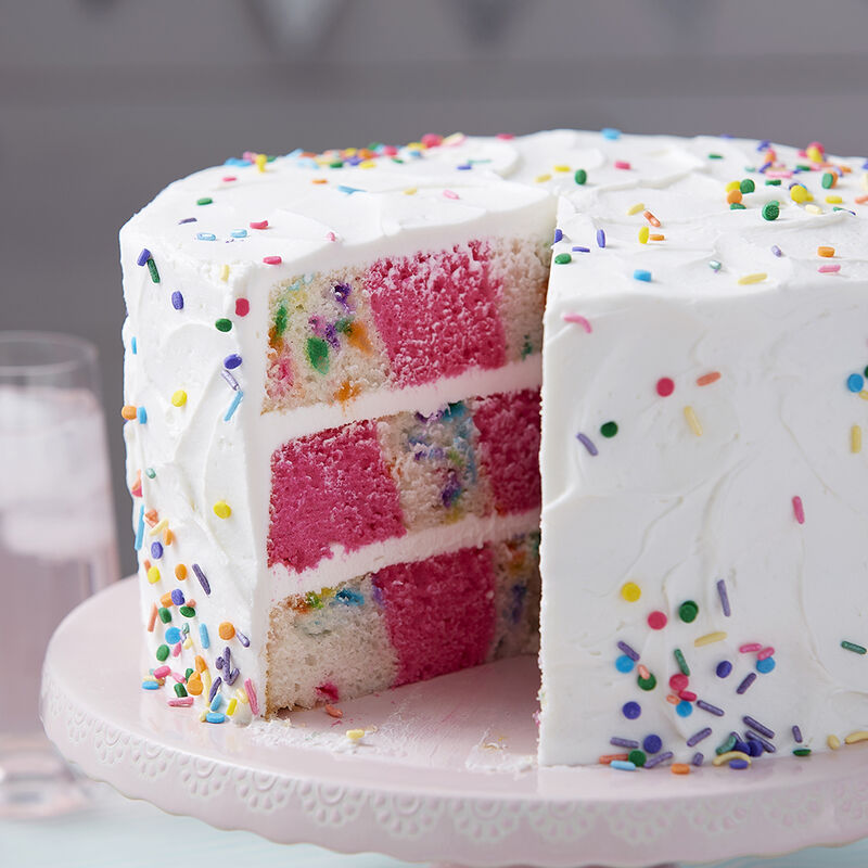 A Sprinkle of Pink Checkerboard Cake image number 1