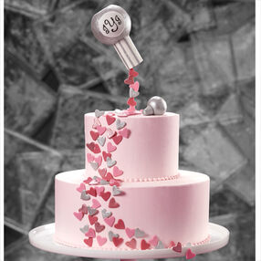 Confetti Hearts of Love Wedding Cake