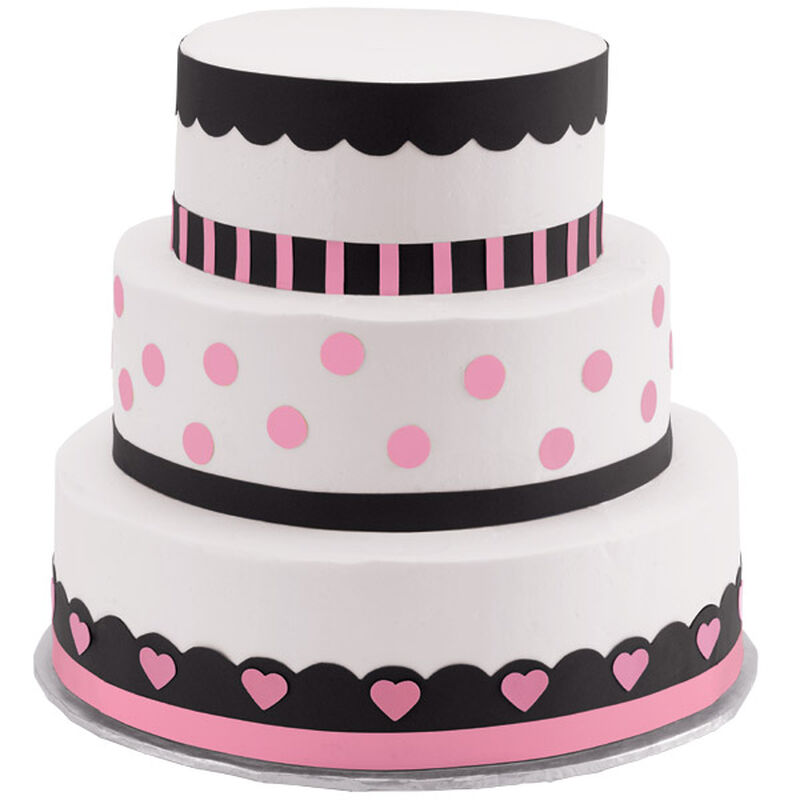 Polka Dots and Hearts Three-Tier Cake image number 0