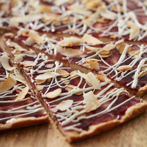 Raspberry Coconut Cookie Pizza