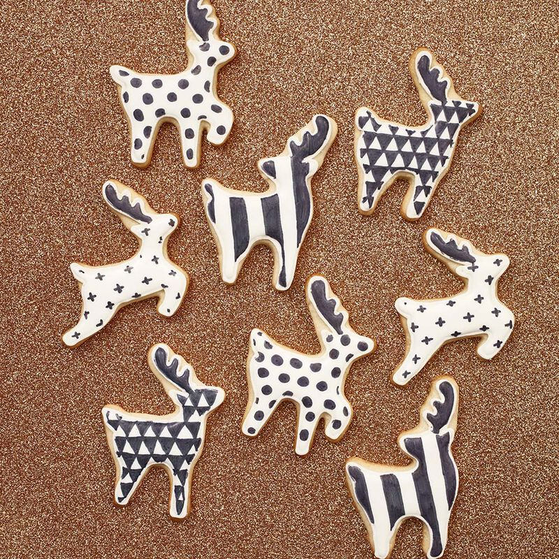 Christmas Reindeer Cut Out Sugar Cookies in Black & White image number 0