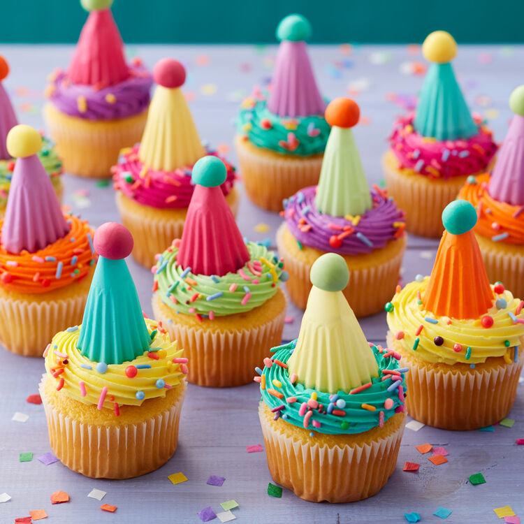 Bright Neon Party Hat Cupcakes