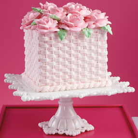 Basketweave Heights and Roses Cake