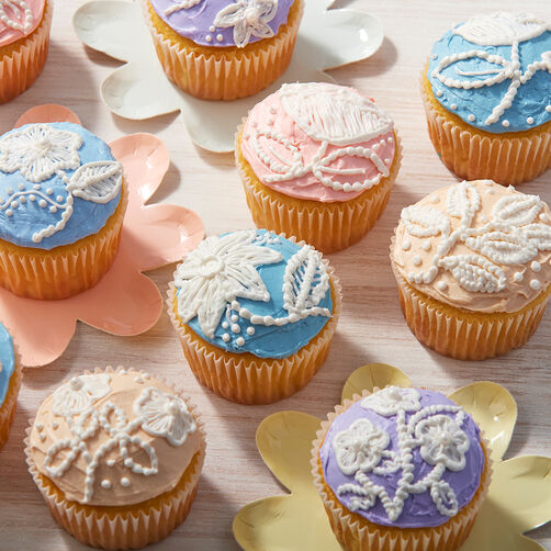 Blooming Embroidered Spring Cupcakes